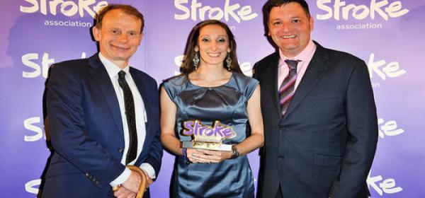 Andrew Marr with two others at the Life After Stroke Awards
