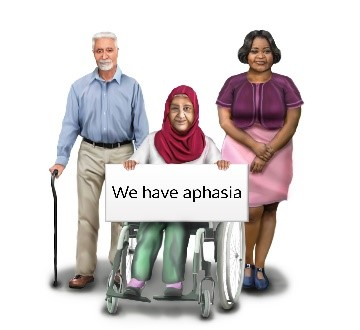 Illustration of a group of people, one is holding a sign that says we have aphasia