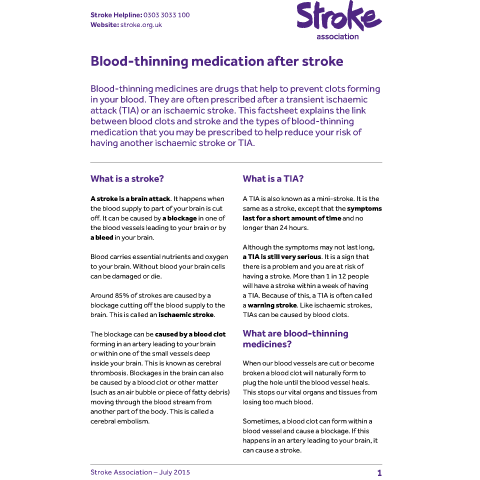 What are some side effects of a TIA stroke?
