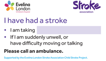 Childhood stroke medical card