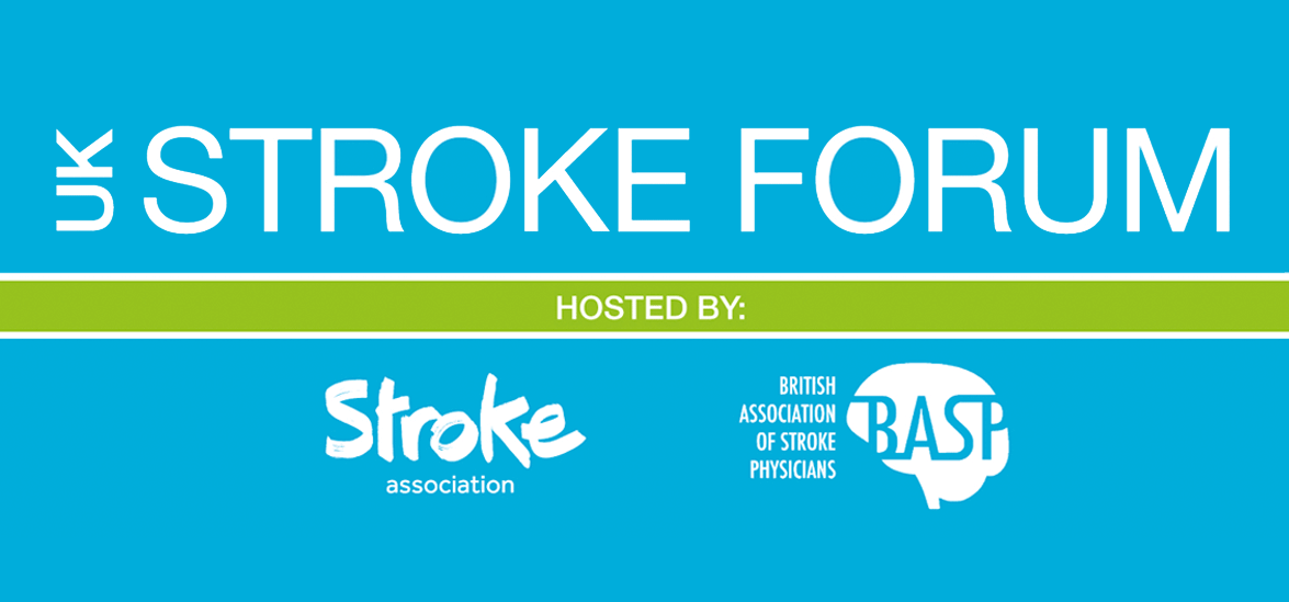 UK Stroke Forum banner, with text: Hosted by Stroke Association, British Association of Stroke Physicians