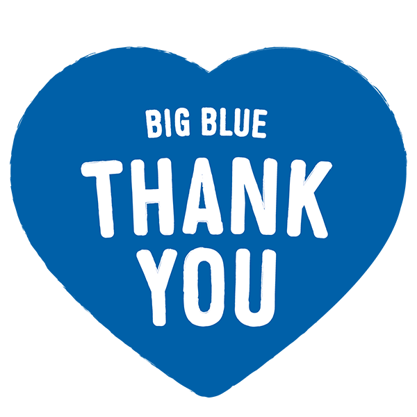 Big Blue Thank You logo, white text on a big blue heart