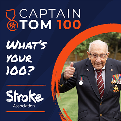"""Captain Tom 100 event banner. Subheading text says: """"What's Your 100?"""" A picture of Captain Tom giving a thumbs-up is also on there."""