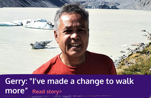 "Graohic with text: Gerry: ""I've made a change to walk more"" read story"
