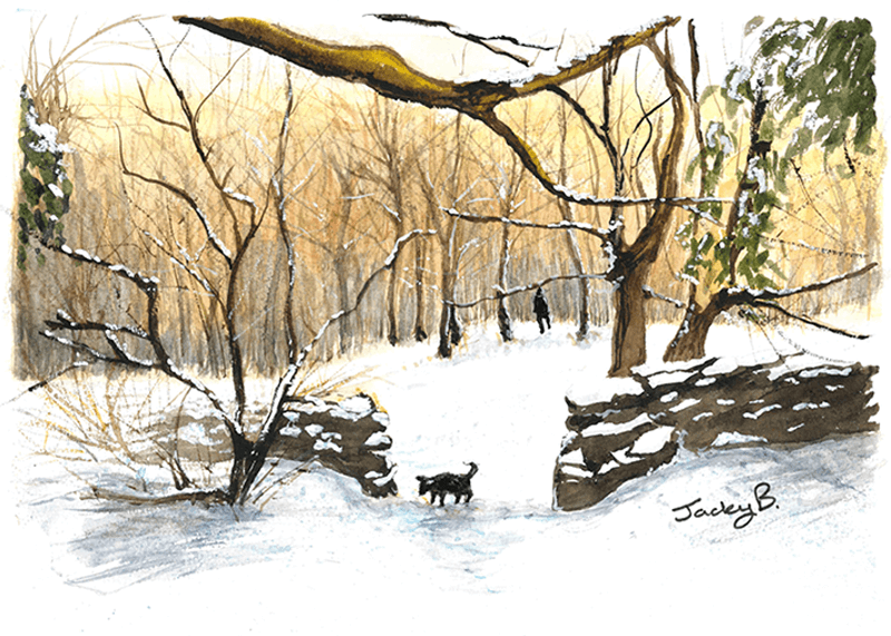 Jacky Baldwin's winter-scene artwork for the Stroke Association's Christmas card competition