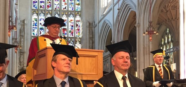 Jon Barrick accepting his degree from the University of Bath