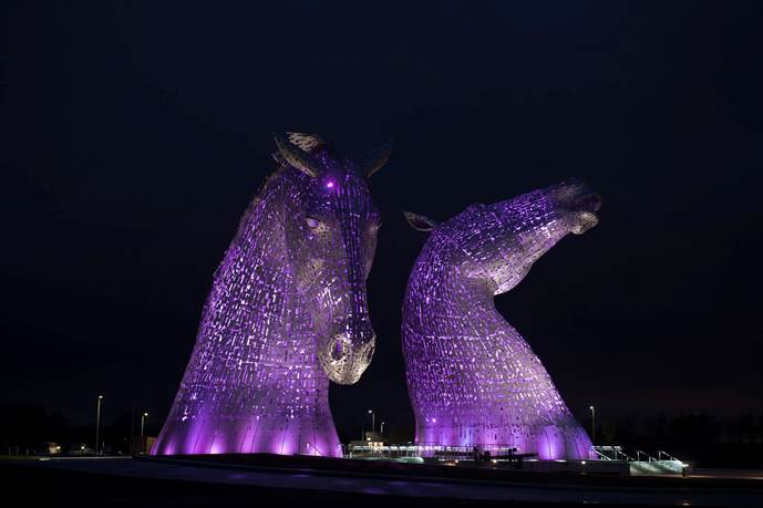 Picture of Kelpies lit in purple for Make May Purple