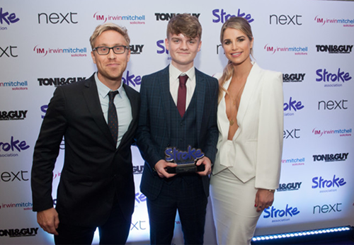 Connor Lynnes with Russell Howard and Vogue Williams