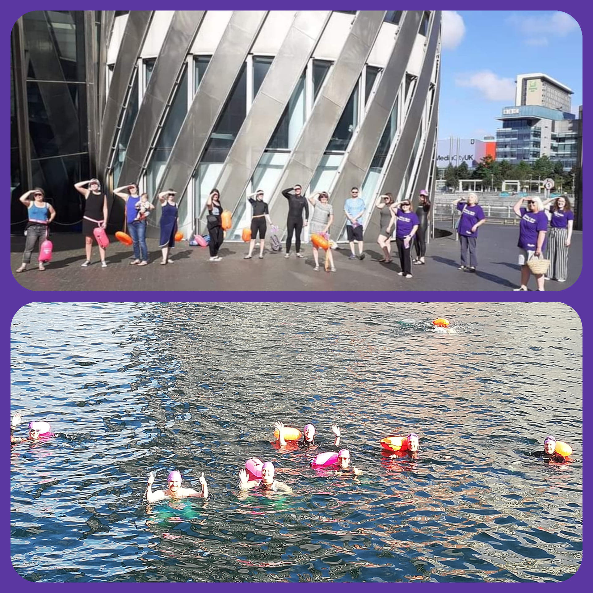 Photos from the sponsored swim in Salford Quay