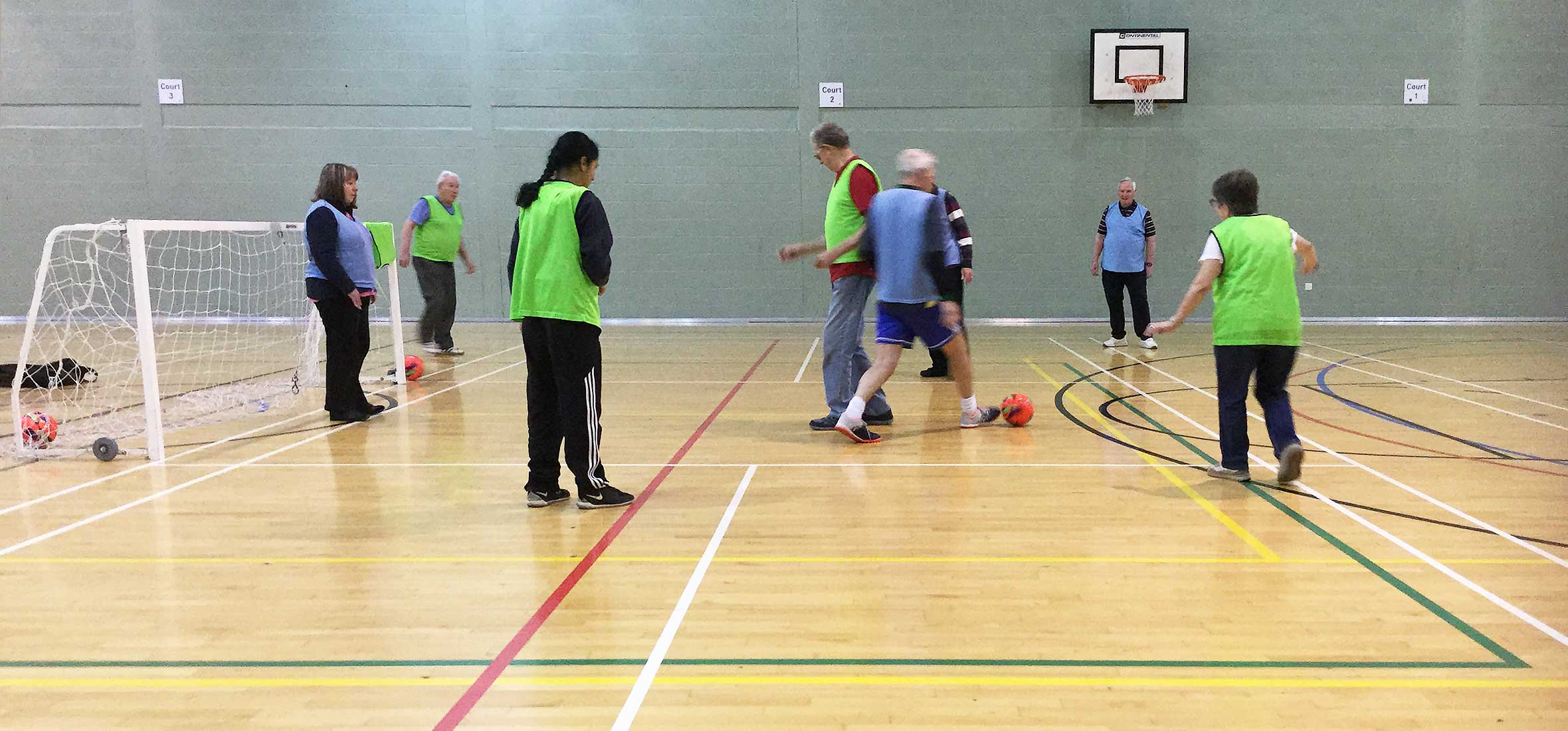 Photo of stroke survivors playing walking football