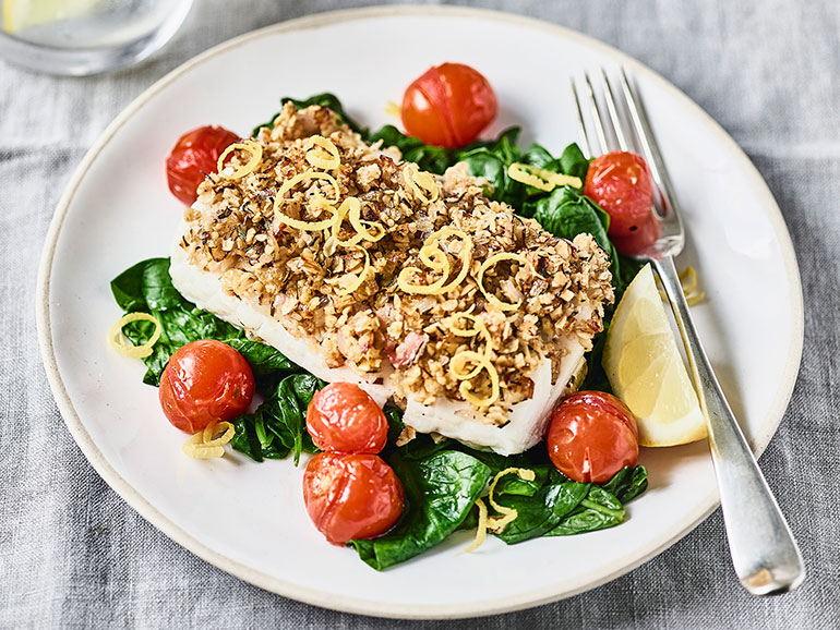 Photo of lemon-cod-with-oat-crumb-spinach