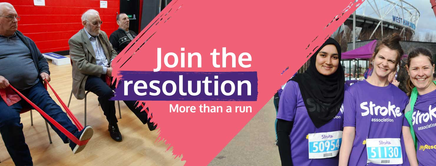Stroke Association's Resolution Run graphic. Graphic text: Join the resolution, more than a run