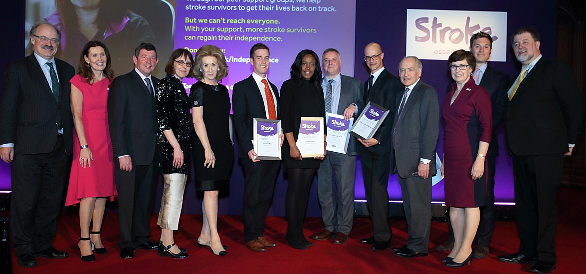 Awardees with Professor Sir Mark Walport, Professor Marion Walker MBE, Christopher Blakesley, Juliet Bouverie, The Lady Estelle Wolfson, Alastair Stewart OBE, Hilary Reynolds CBE,  Frederick Lewis, and Martin Coult