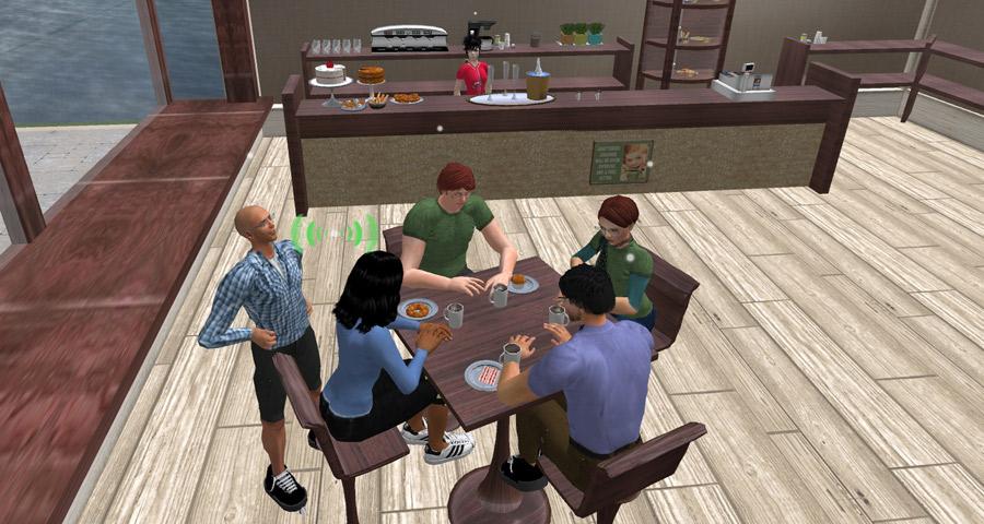 Screenshot of a cafe scene in EVA Park