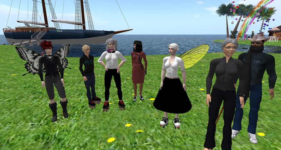 Screenshot of a group of avatars in EVA Park