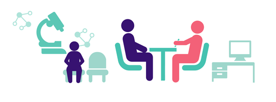 Illustration of people sitting at a table