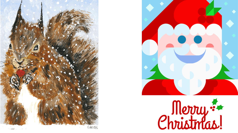 Hadyn Canter's 'Squirrel' art on the left side, and Richard Sturdy's 'Santa Card' on the right side