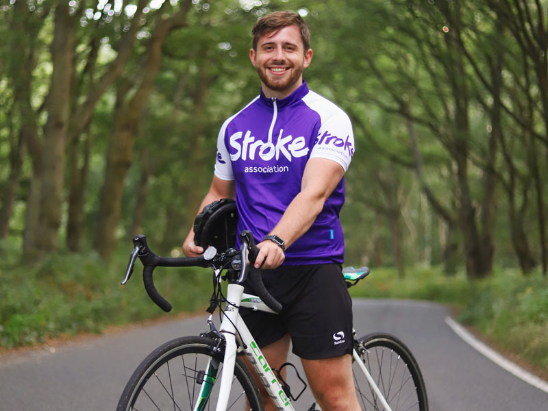 Ross Terry with his purple Stroke Association T-shirt