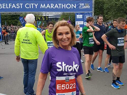 Stroke Association supporter at Belfast City Marathon