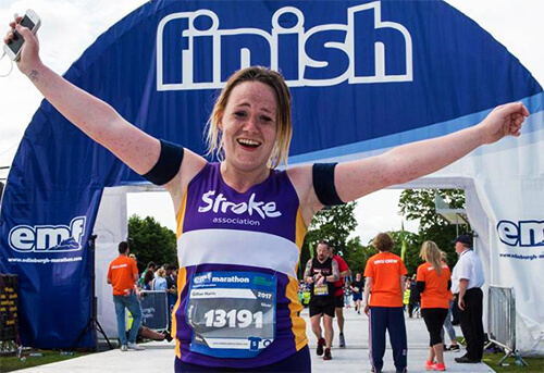 Photo of Gillian Harris running for the Stroke Association