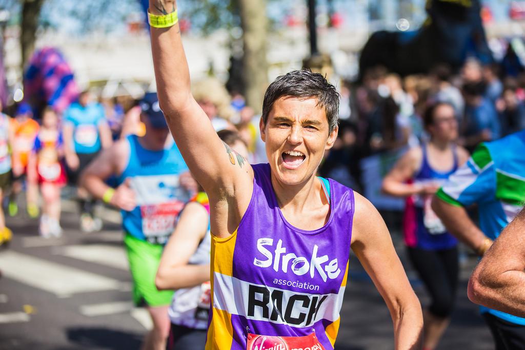 London Marathon runner waving