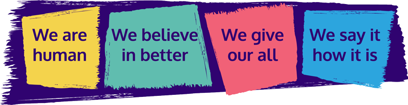 Our values:  we are human; we believe in better; we give our all ; we say it how it is
