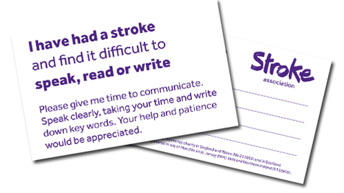 Photo of stroke communication cards.