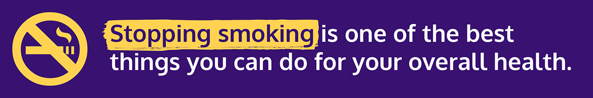 Stroke Prevention Day graphic with text: 'stopping smoking is one of the best things you can do for your overall health'