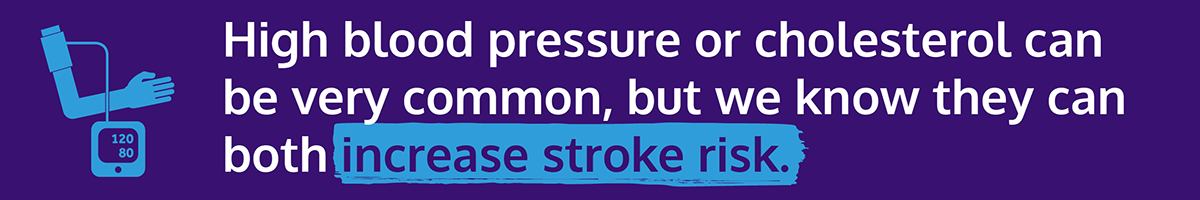 Stroke Prevention Day graphic with text: High blood pressure or cholesterol can be very common, but we know they can both increase stroke risk