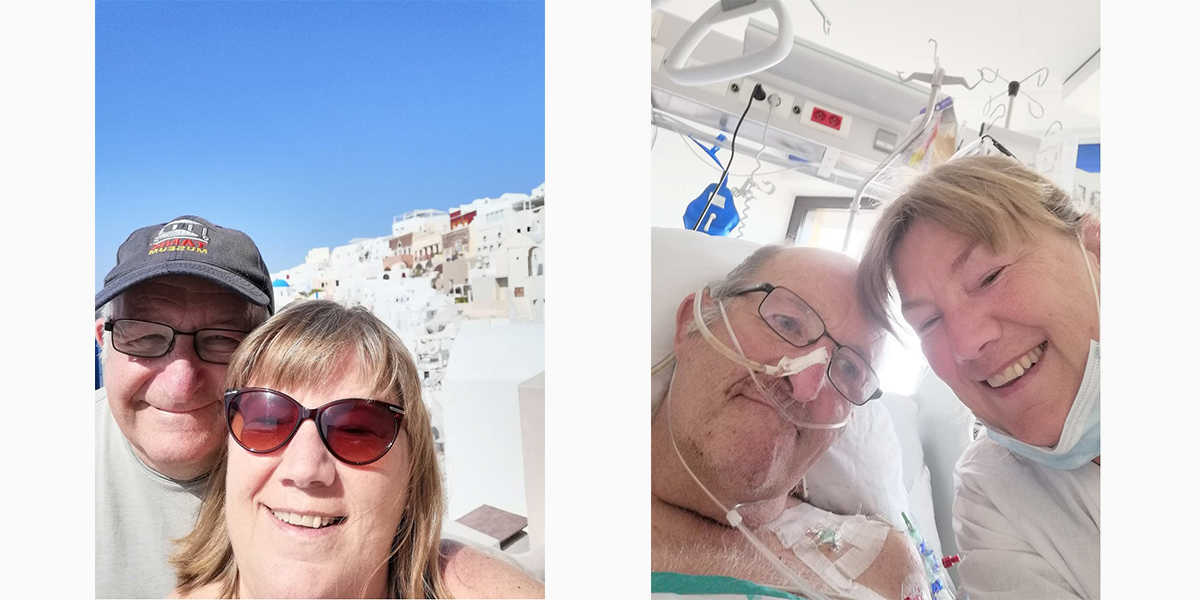 Two pictures of David and Catherine Kirton together. On the left – a selfie of them on vacation. On the right, Catherine visiting David in a hospital bed.