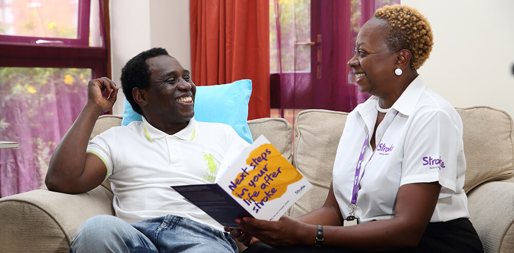 Stroke survivor with a Stroke Association support worker