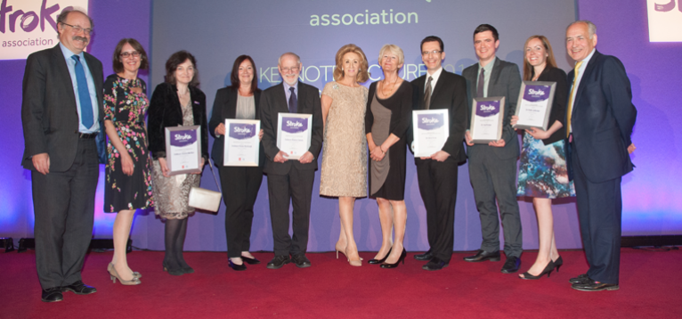Award winners with our CEO stood in a line on stage at our Keynote event in 2017