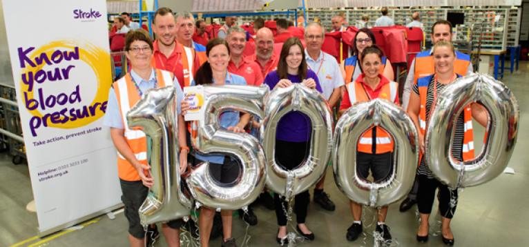 Royal Mail employees after the Stroke Association completed 15,000 blood pressure checks
