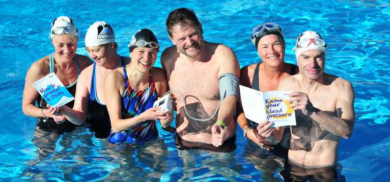 Brixton lido swimmers have their blood pressures taken