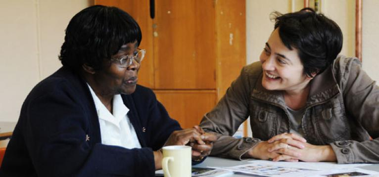 A speech and language therapist and stroke survivor at one of our Life After Stroke services