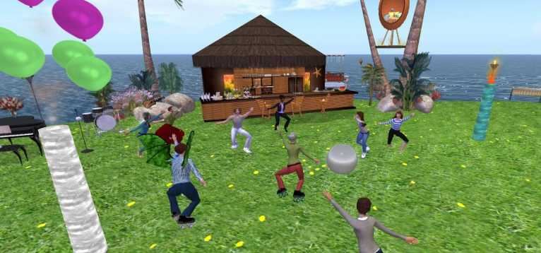 Screenshot from the EVA Park project. It shows multiple digital avatars dancing around on a virtual beach.