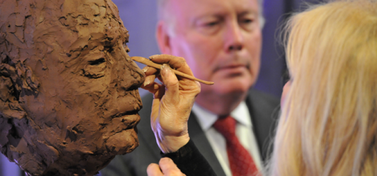 Frances Segelman sculpting Julian Fellowes