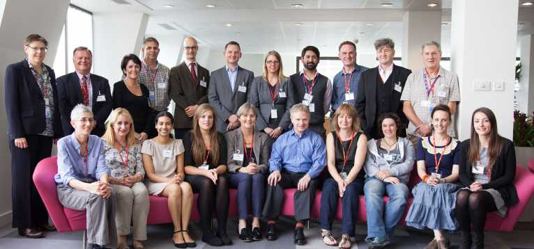 A group photo of all researchers, stroke survivors and stroke association staff who attended the haemorrhagic stroke workshop