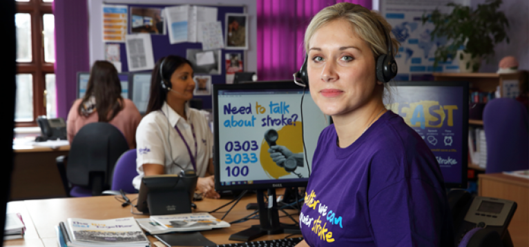 One of our Helpline workers at their desk