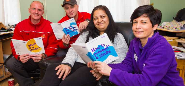 Jabeen with Royal Mail and Stroke Association staff