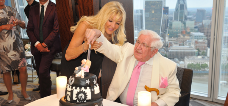 Jack Petchey, Frances Segelman and friends, celebrating Jack's 90th birthday at the iconic Shard building in London, in aid of the Stroke Association.