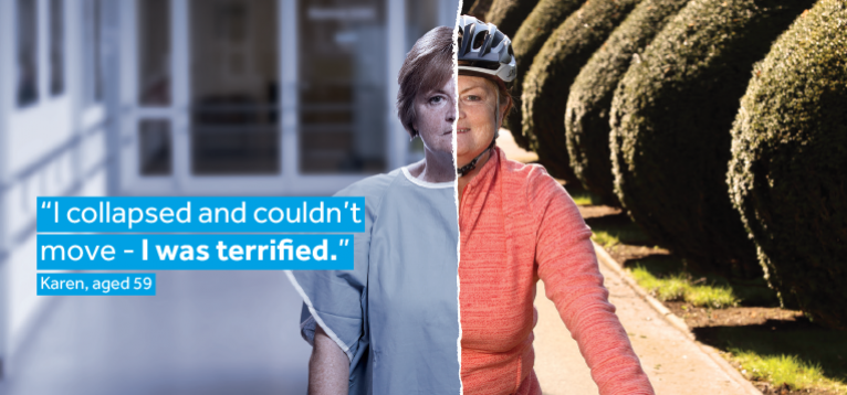 Karen's image split in two; one side showing her in a hospital gown and the other on a bike