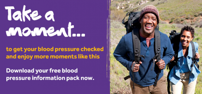 Take a Moment infographic of a man hiking and smiling. Text reads: To download your free Blood Pressure information pack, please visit stoke.org.uk/moments