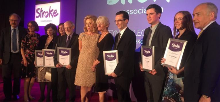 Awardees with Professor Sir Mark Walport, Juliet Bouverie, Lady Estelle Wolfson, Professor Dame Nancy Rothwell and Alistair Stewart