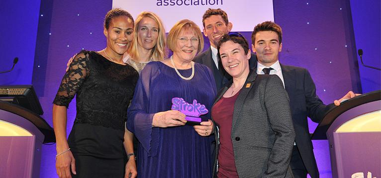 Image of Rachel Yankey, Saskia Clarke, award recipient Christine Brown, David Florence, Megan Giglia, Hugh Sweetman
