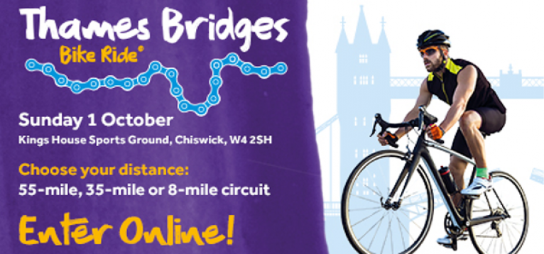 """Facebook infographic. Text reads: """"Thames Bridges Bike Ride, Sunday 1 October, Kings Hosue Sports Ground, Chiswick, W4 2SH. Choose your distance: 55-mile, 35-mile or 8-mile circuit. Enter Online!"""""""