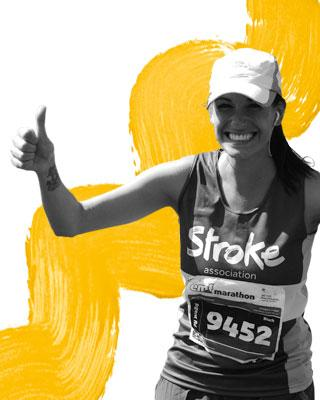 Woman running wearing a Stroke Association running vest