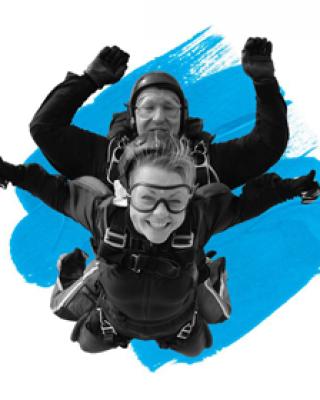 Volunteers during their skydive