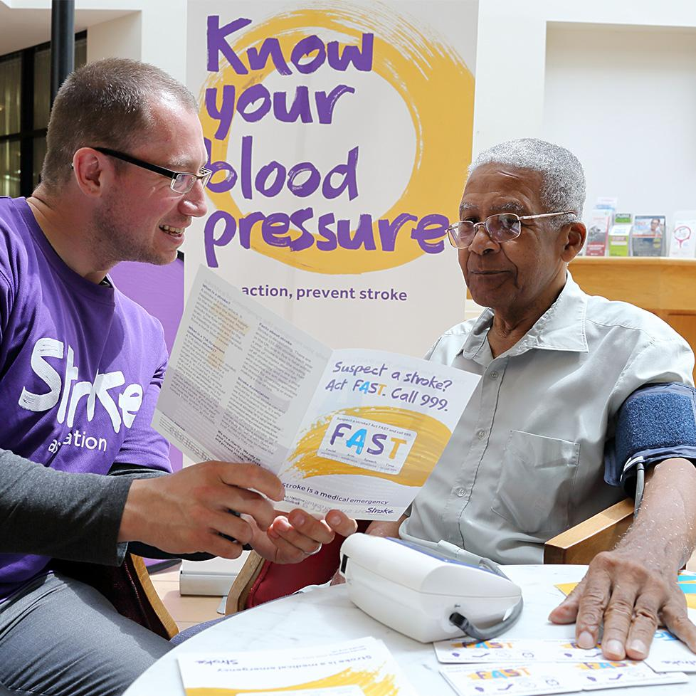 A man has his blood pressure taken.