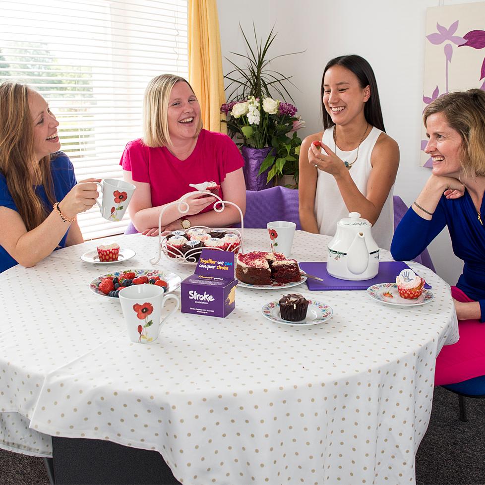 A group of ladies having afternoon tea.
